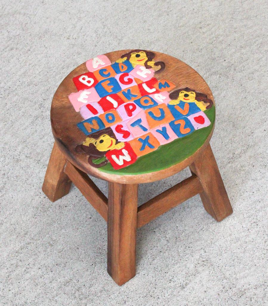 Children S Furniture Recycled Teak Kids Stool Abc