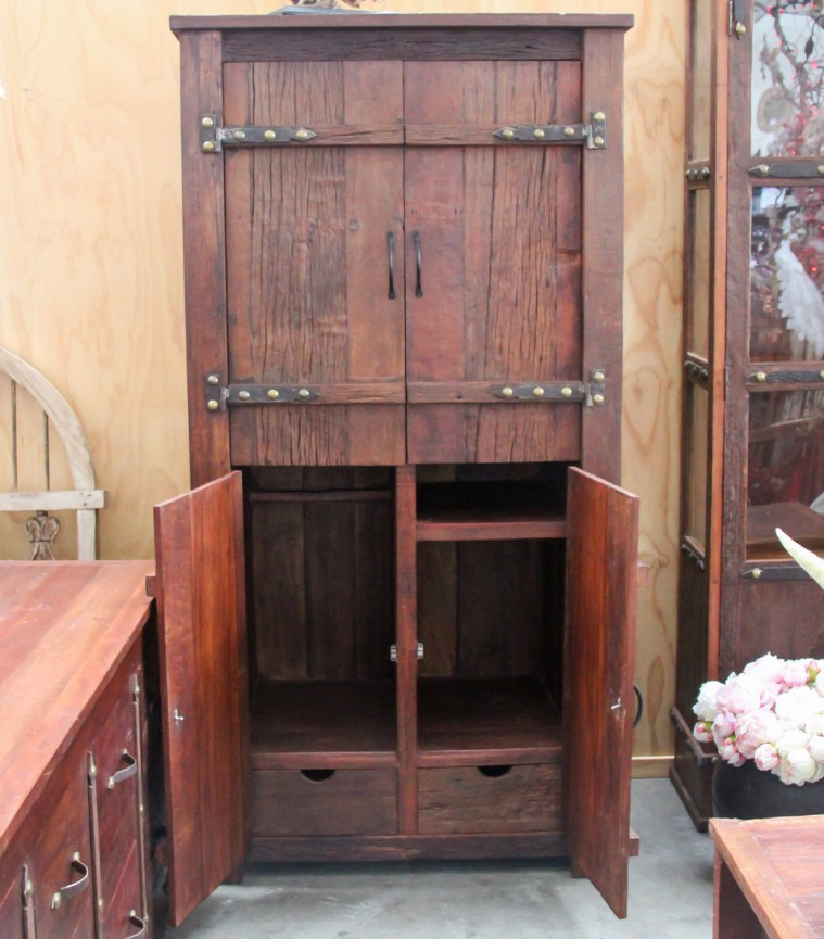 BB107 Recycled Teak Tall Wardrobe 5