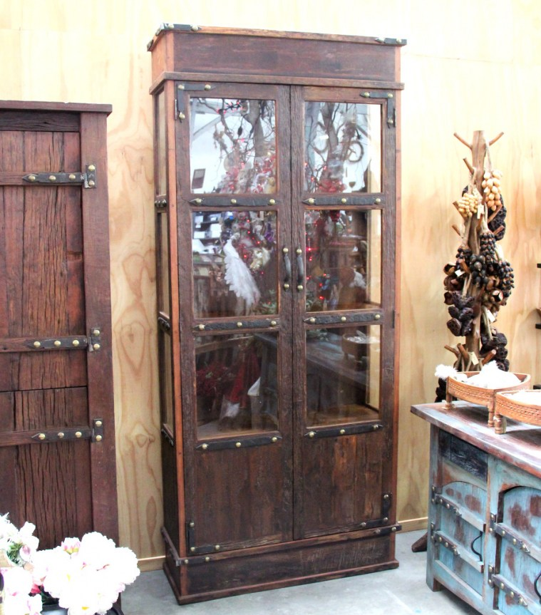 BB108 Recycled Teak Display Cabinet