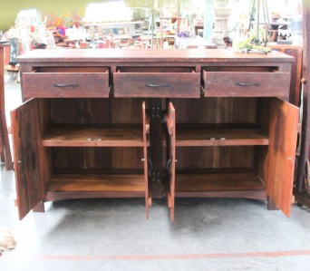 BB109 Recycled Teak Cabinet 3 drawer 2 cupboard 4