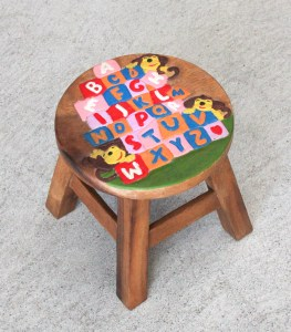 Kids Teak Stool Small - ABCD