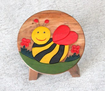 Kids Teak Stool Small - Bee 2