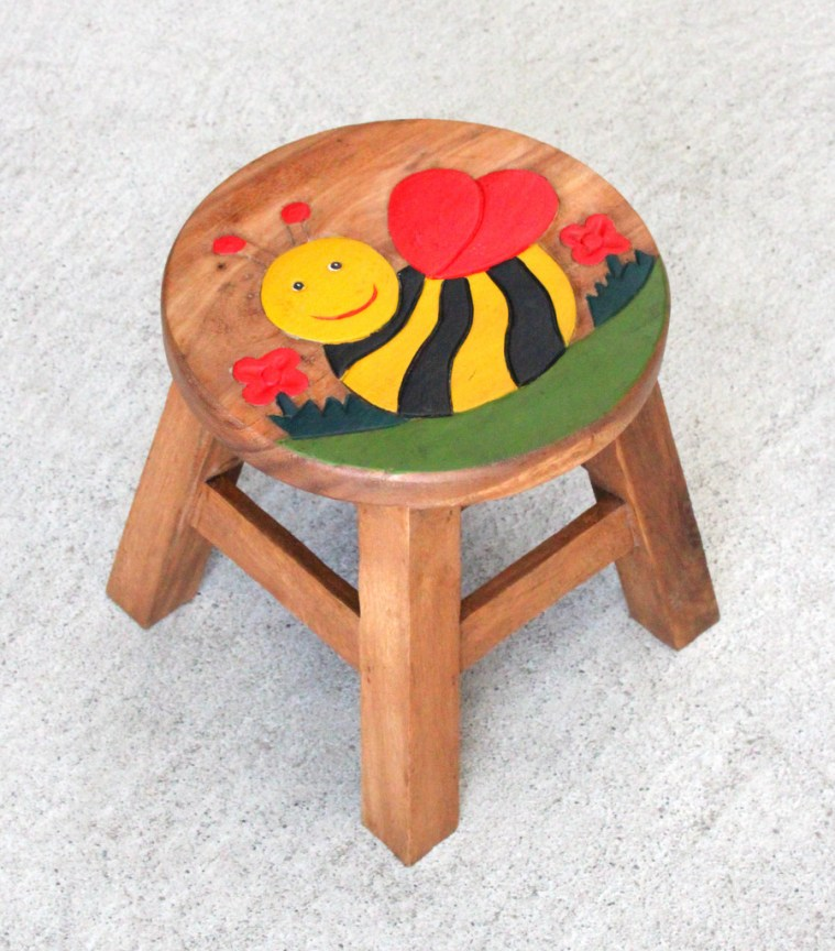Kids Teak Stool Small - Bee
