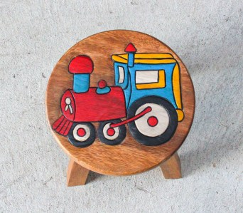 Kids Teak Stool Small - Train (2)