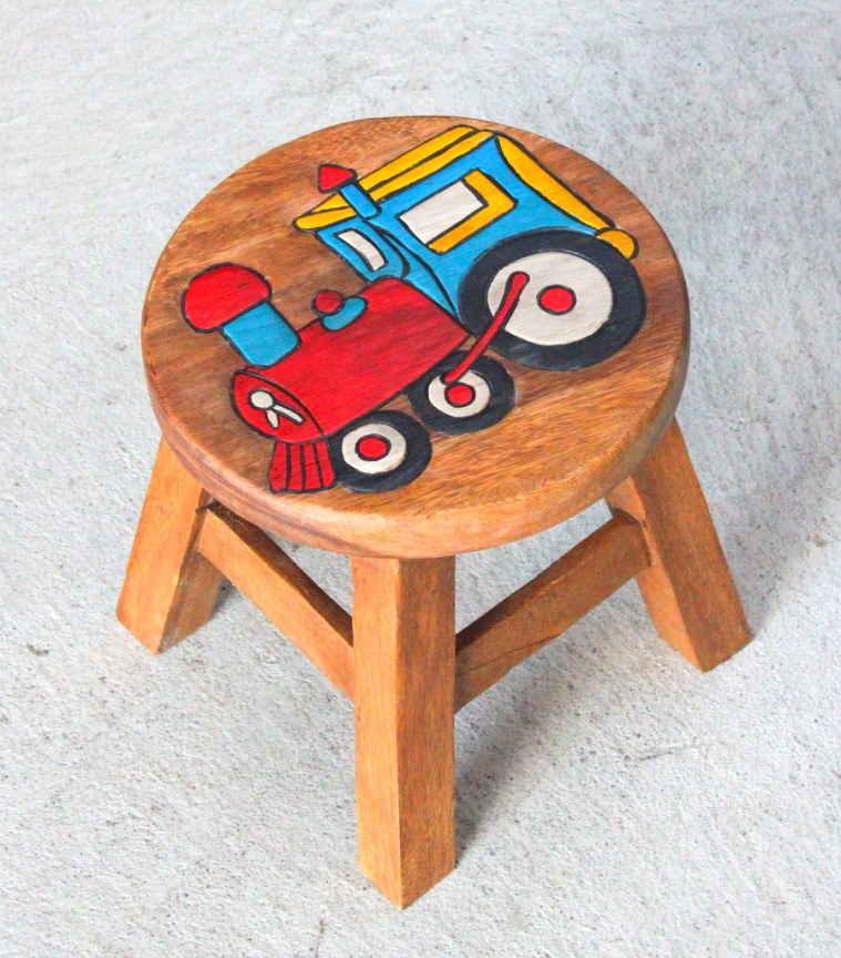 Kids Teak Stool Small - Train