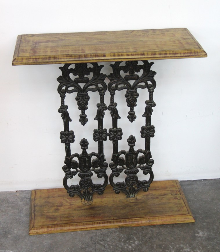 Wrought Iron and Teak Side Table AJ-02a
